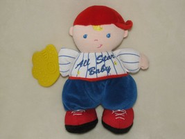 Kids Preferred All Star Baby Baseball Boy Doll Rattle Rubber Teether Glo... - $49.49