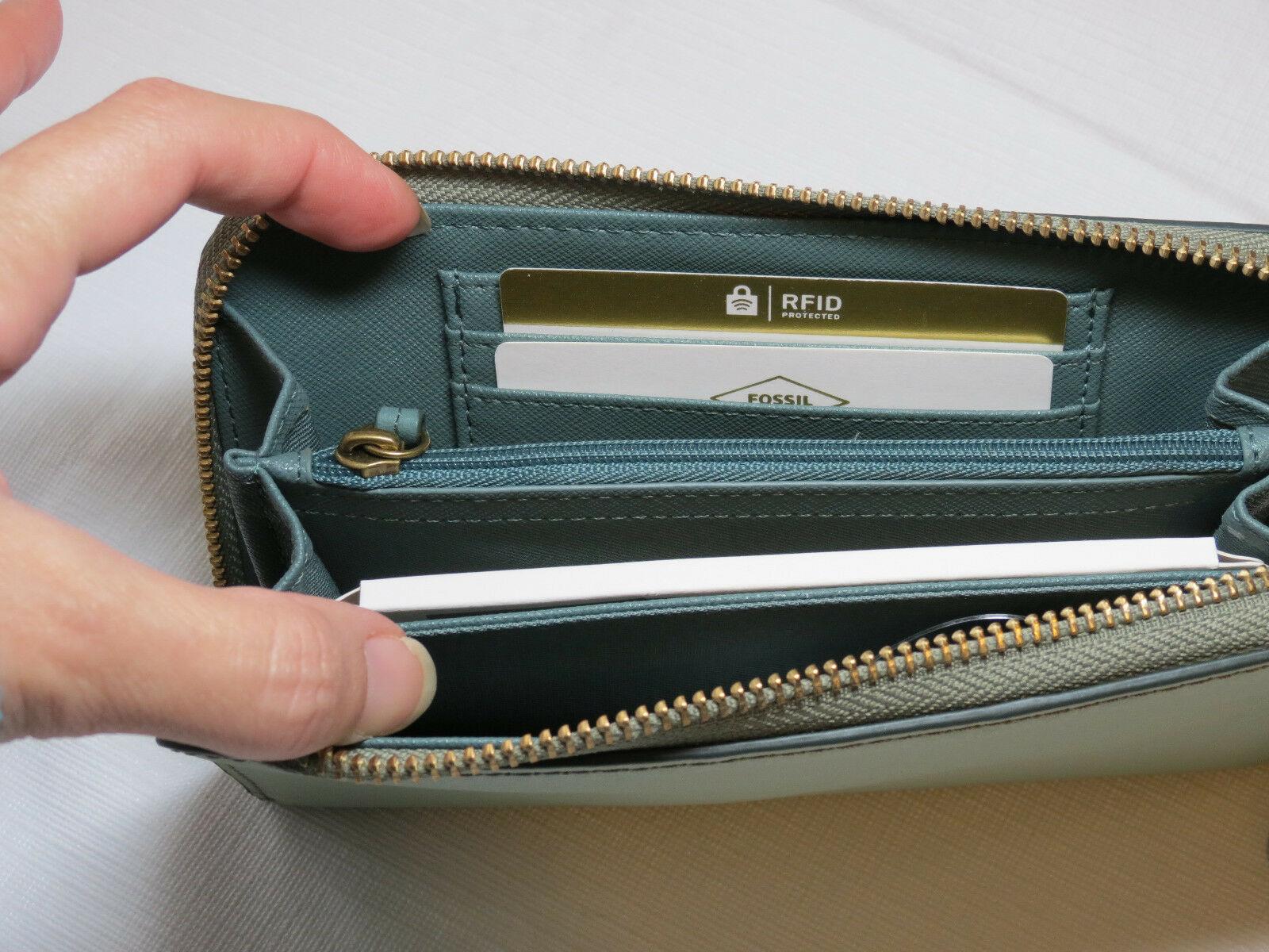 Fossil SL7151336 RFID Emma Smartphone Wristlet Lght Sage wallet clutch leather*^ image 5