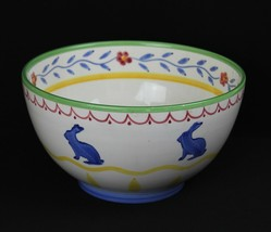 Studio Nova Old MacDonald's Farm Bunny Rabbit Handpainted Spongeware Bow... - $37.36