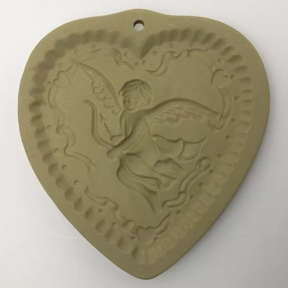 Vtg Cookie Press Cupid Heart Love Craft Brown Bag Food Mold USA Valentines Day