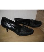Womens 6 NINE & COMPANY Blk Real Leather Dress Shoes PUMPS Hi Heeled Loa... - $12.13