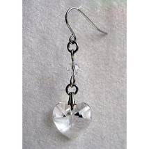 14mm Faceted Crystal Heart Earrings image 3