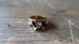 Vintage Gold Plated Multi Color Crystal Ring Size 7 - $13.86