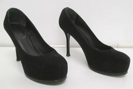 SAINT LAURENT Black Ysl Yves Tribtoo 105 Suede Pumps - Size 7 - $135.00