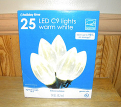NEW Holiday 25 LED C9 Christmas Lights Ultra Bright Warm White indoor ou... - $14.68