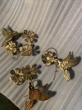 3 Pc Gold Tone Brass Metal Hummingbird Flower Home Interior Wall Hanging... - $29.99