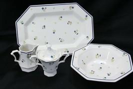 Nikko Homespun Platter Bowl Creamer Sugar Bowl Lot of 4 - $47.03