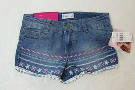 Freestyle Girls Shorts Size 12 Denim Blue Jean Embroidered Lace Trim New... - $24.74
