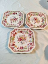 3 of Johnson Bros England WINCHESTER Rope Edge Square Salad Dessert Plat... - $37.40
