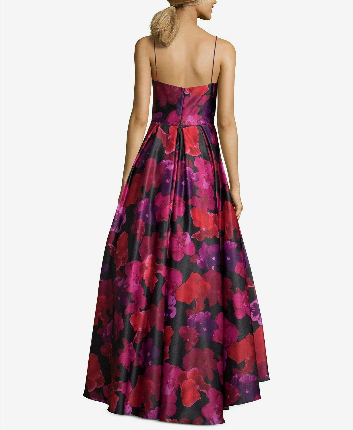 Betsy & Adam Floral-Print High-Low Gown Black/Red/Hot Magenta Size 8 $320 image 2
