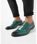 Sea Green Oxford Wing Tip Lace up Wing Tip Brogue  Men's Handmade Leathe... - $145.00+