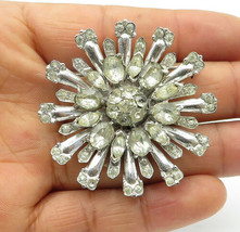 CORO 925 Silver - Vintage Rare Topaz Floral Designed Round Brooch Pin - BP3994 - $117.34