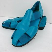 Easy Spirit Lite Size 6.5 M Blue Teal Flat Sandal Stretch Shoe Turquoise - $31.18