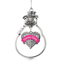 Inspired Silver Pink Dental Diva Pave Heart Snowman Holiday Ornament - $14.69