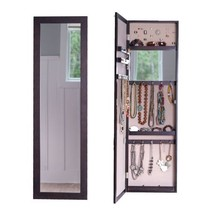 Large Deluxe Jewelry Organizer Wood Armoire Storage Cabinet Full Length ... - $105.92