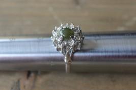 Large Vintage Rhinestone Statement Ring Green Stone Size 11 - $29.70