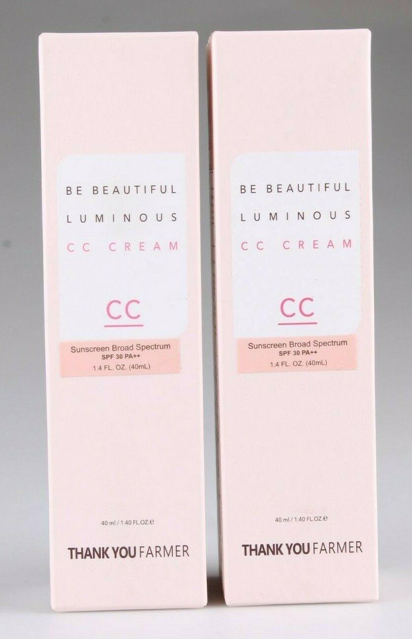 Lot 2x Thank You Farmer Be Beautiful Luminous CC Cream SPF 30, 40 ml 1.4 oz New