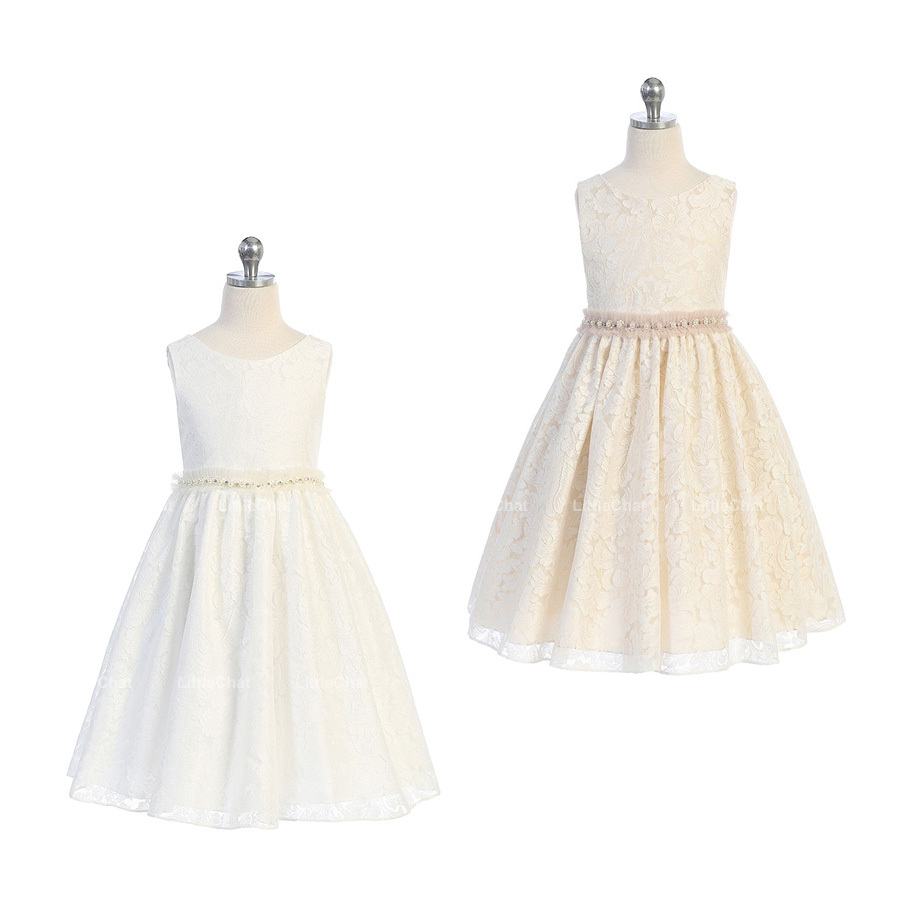 Champagne Sleeveless V-Back Full Lace with Pearl and Tulle Waist Trim Girl Dress