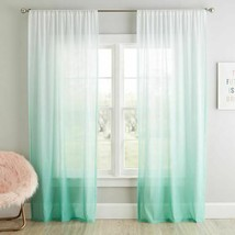 Pottery Barn Teen Ombre Sheer Curtain Panel Light 96 52 Green White - $41.79