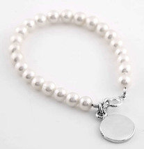 "STERLING SILVER FRESHWATER PEARL CHILD BRACELET SIZE 6.5"" with FREE ENGR... - $28.04"