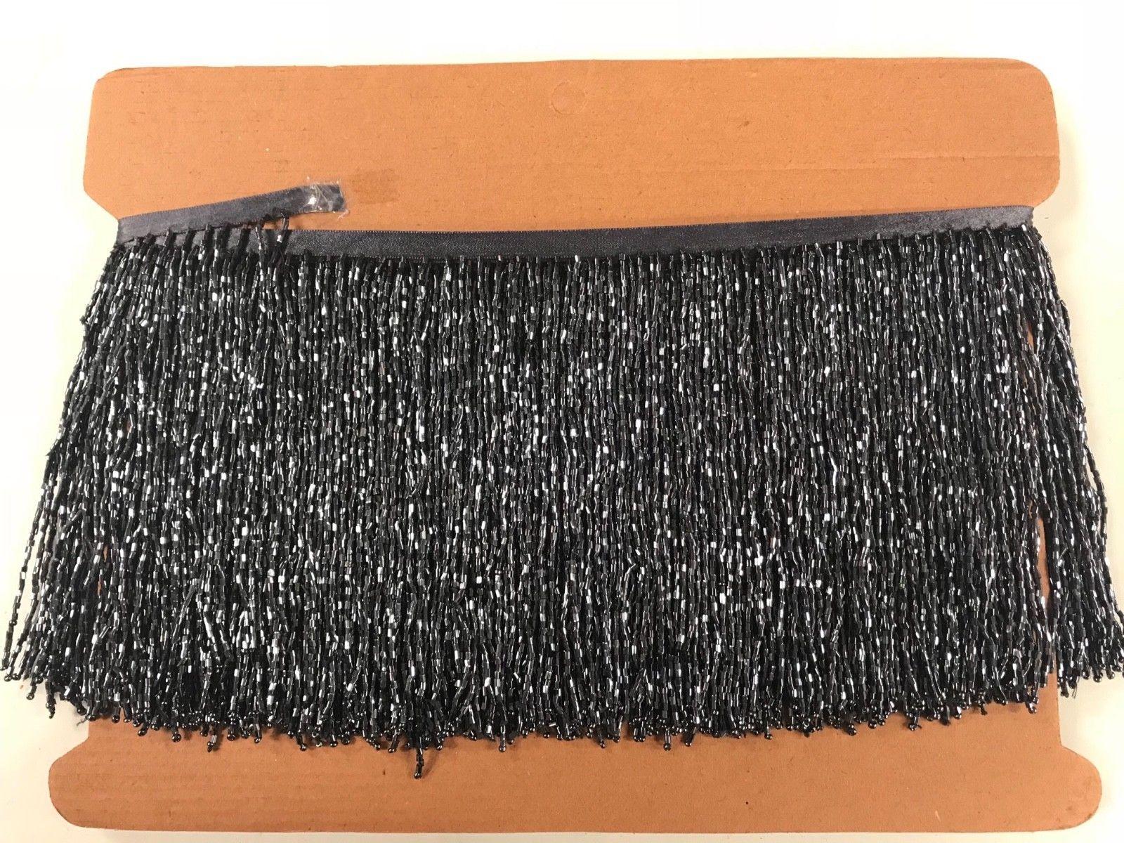 "By the Yard-3/""-BLACK Glass BUGLE Bead Beaded Fringe Lamp Costume Trim"