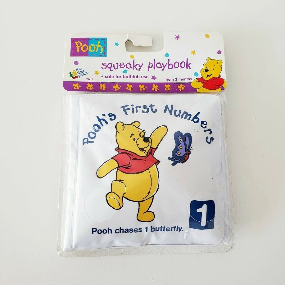 Primary image for The First Years WINNIE THE POOH Squeaky Playbook Baby Bath Numbers Book NEW