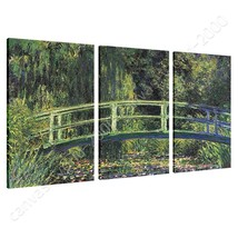 CANVAS (Rolled) Water Lily Pond Claude Monet 3 Panels Art Oil Paintings ... - $27.57+