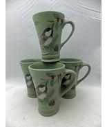 Pfaltzgraff Winterwood pattern - 4 tall coffee cups/mugs - Chickadees - ... - $34.65