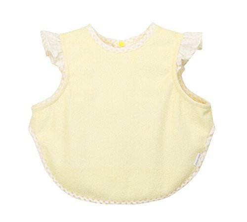 Simple Waterproof Baby Bib Bamboo Fabric Baby Feeding Smock Yellow, 4-9 Months