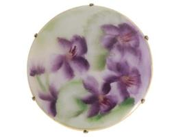 Vintage Victorian Pin Brooch Transfer Ware Violet Round - $29.00