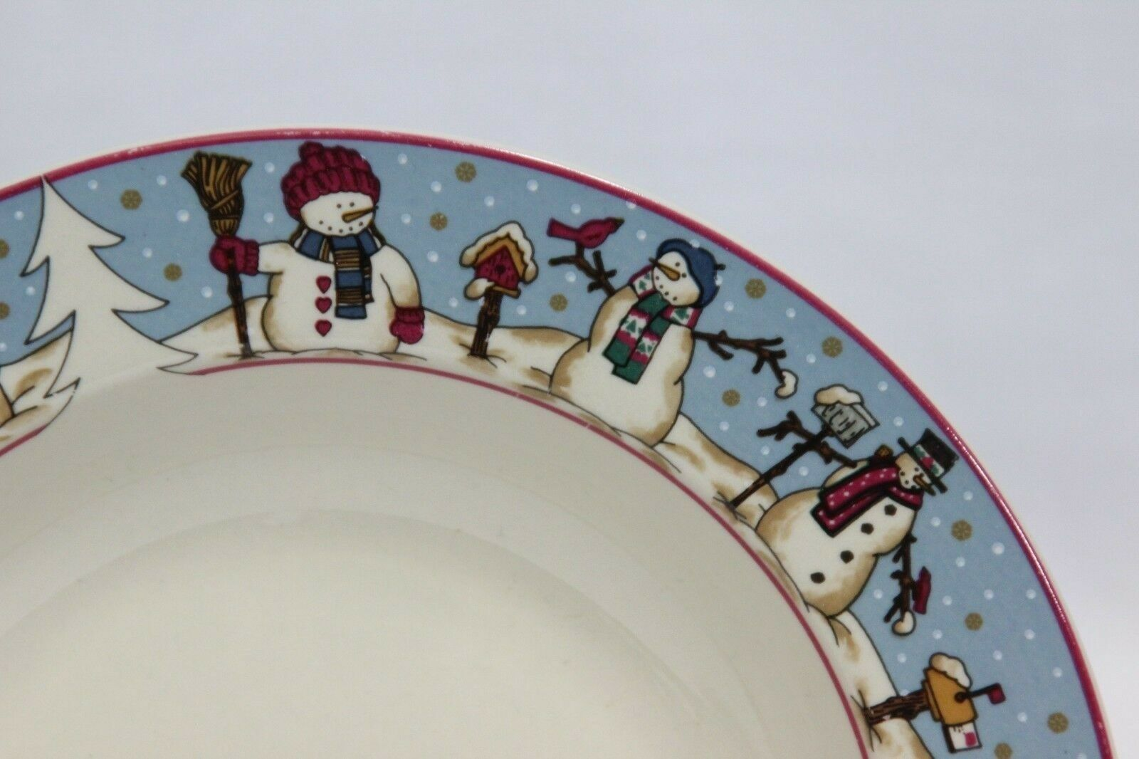 "Snowmen Serenade Rim Soup Bowls Cambridge 8.5"" Set of 12 image 2"