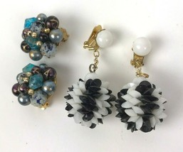 Mod Vtg earrings lot of 2 prs Clip Style BOHO deco Geo Cluster Disco Hon... - $11.87