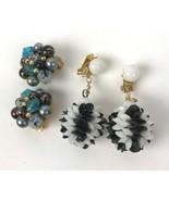 Mod Vtg earrings lot of 2 prs Clip Style BOHO deco Geo Cluster Disco Hon... - $11.87