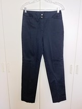 JONES NEW YORK LADIES NAVY STRETCH CASUAL PANTS-4-GENTLY WORN-COTTON/SPA... - $14.99