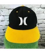 Hurley Mens Sz 6 7/8- 7 1/4 Hat Black Yellow Bill Flexfit Baseball Cap Flaw - $14.84