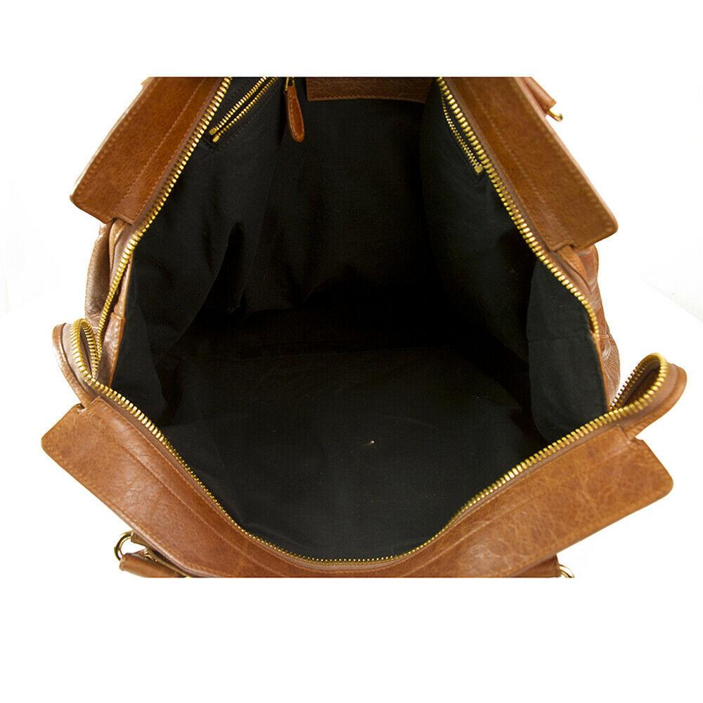 BALENCIAGA Tan Brown Leather Giant 21 Gold Weekender Bag retailed at $2,385  image 7