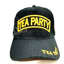 Tea Party Mens Puff Embroidered Hat Cap Black Adjustable Strap Acrylic H10 - $8.90