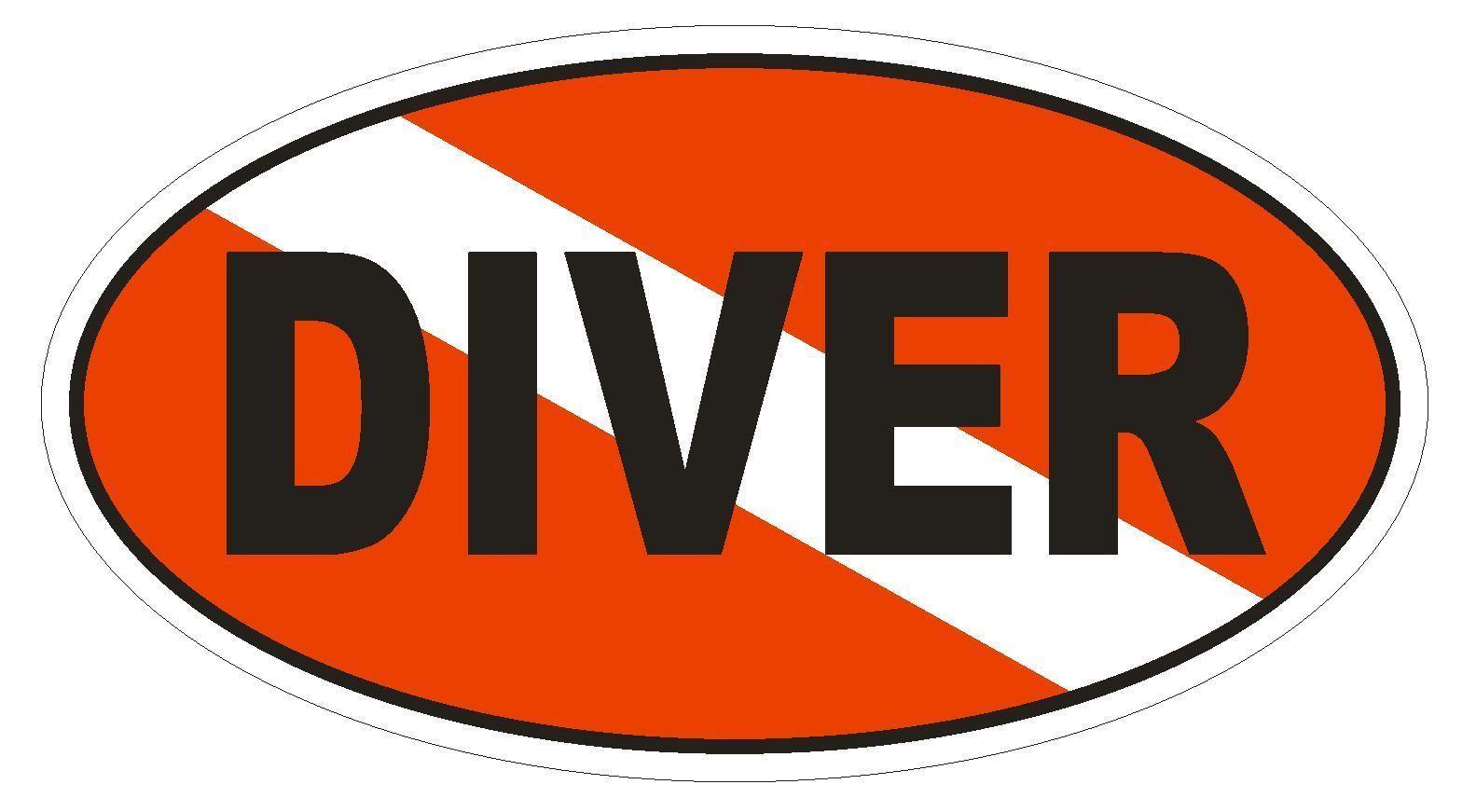 DIVER Oval Bumper Sticker or Helmet Sticker D1835 Euro Oval - $1.39 - $75.00