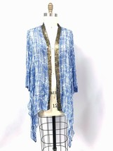 Chicos  2 12-16 Blue Printed Viscose Open Front Tunic Brass Metal Trim C... - $34.50