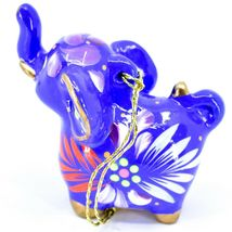 Handcrafted Painted Ceramic Blue Elephant Confetti Ornament Made in Peru image 3