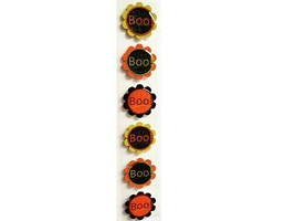 Halloween Round Glitter and Epoxy Boo! Stickers, Set of 6