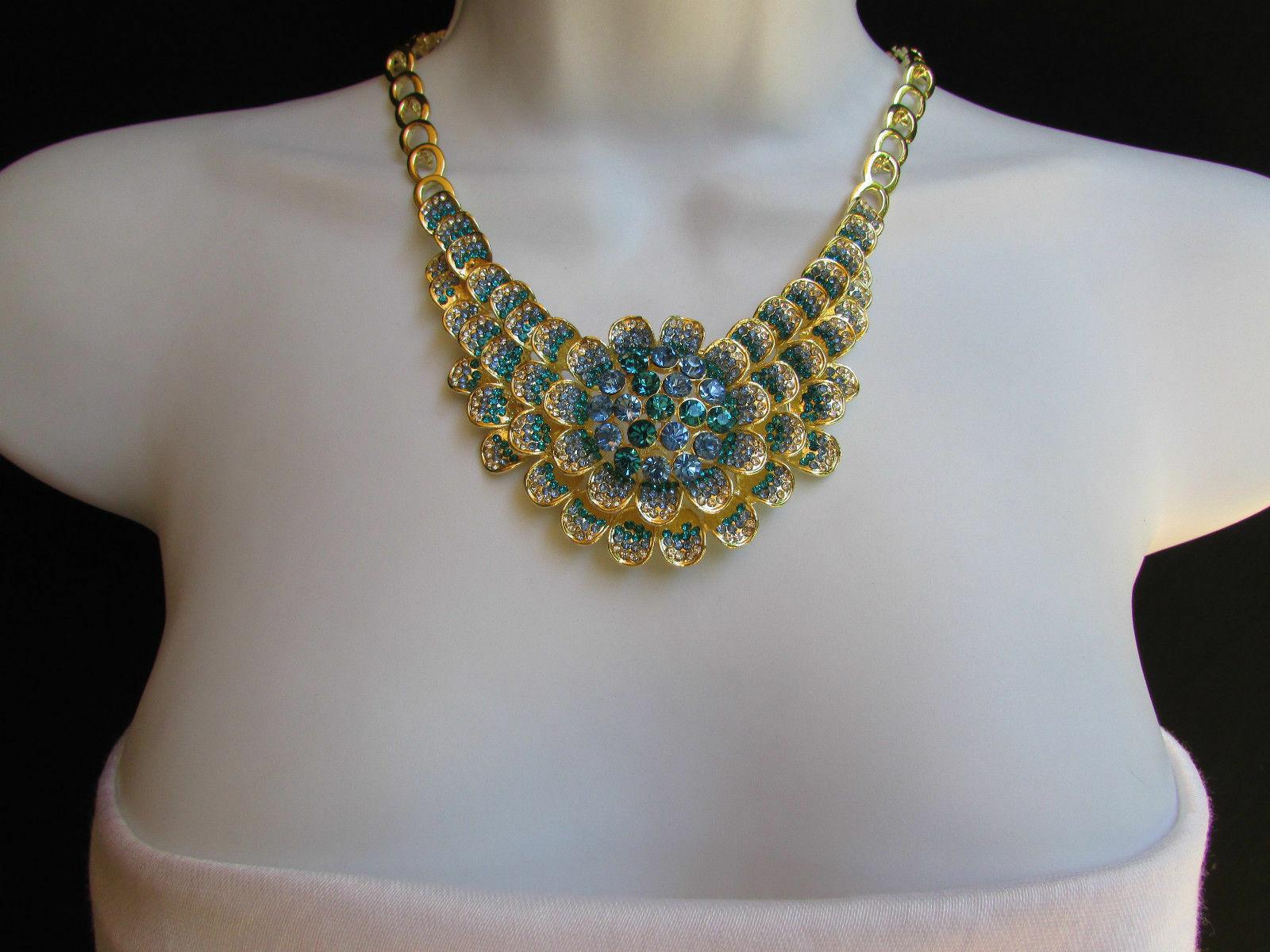 Nuevo Mujer Grande Dorado Flor Tendencia Jewelry Azul Diamantes Collar image 3