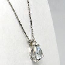 18K WHITE GOLD NECKLACE AQUAMARINE 0.35 DROP CUT & DIAMOND, PENDANT & CHAIN image 3