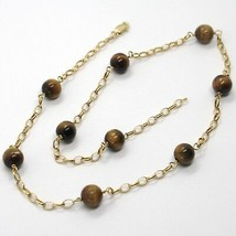 18K YELLOW GOLD NECKLACE OVAL ROLO CHAIN ALTERNATE WITH TIGER'S EYE BALLS 8 MM image 1