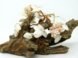 Hand  Made Bonsai TREE SCULPTURE Copper Wire and Shells on a Wood Base B... - $24.26