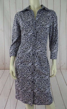 Express Design Studio Dress 12 Button Front Lavender Black White Leopard... - $43.56