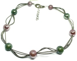 """MULTI WIRES NECKLACE GREEN PURPLE BIG MURANO GLASS SPHERES, 50cm 20"""" ITALY MADE image 1"""