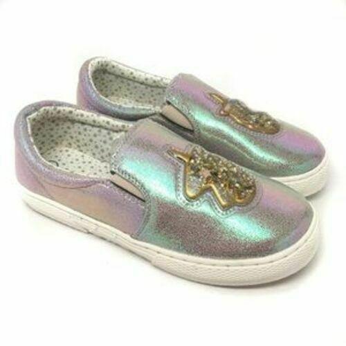 Chat & Jack Argent Irisé Gold Licorne Roana Filles Enfants Slip-On Chaussures