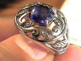 SILVER RING 6.5 ROYAL BLUE STERLING 925 floral oval bold elegant nice - £40.41 GBP