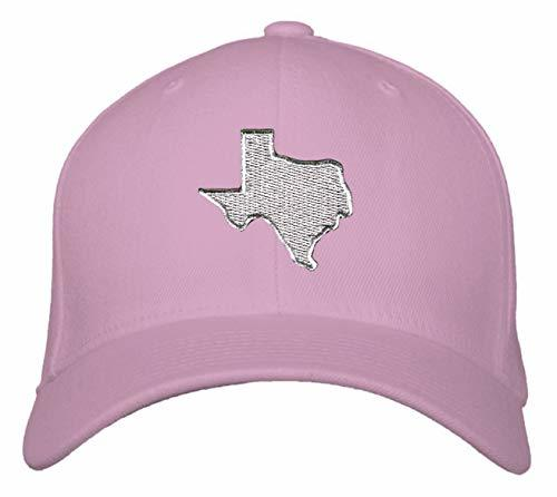 Silver Texas Map Hat - Adjustable Pink Cap